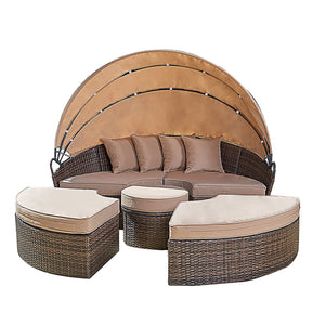 Hot Sale Garden Furniture Round Retractable Canopy Wicker Rattan Daybed - FOB:US$ - MOQ: