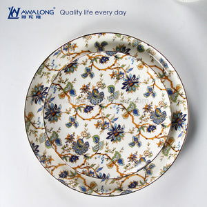 Dinner Plates Beautiful Blue Flowers Ceramics Plate Fancy Porcelain Desert Dishes - FOB:US$ - MOQ: