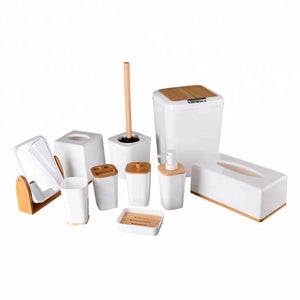 Hotel Decorated Plastic And Bamboo Bathroom Set Bath Room Accessories - FOB:US$ - MOQ:
