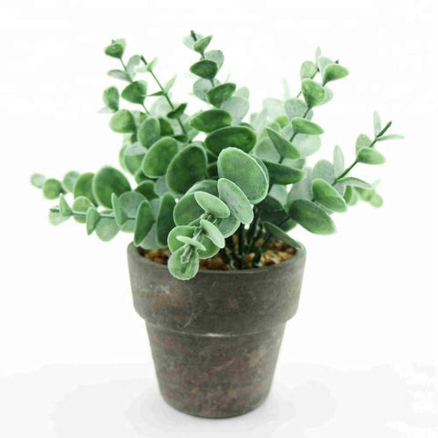 Indoor Outdoor Artificial Greenery Mini Herb In Faux Grey Cement Pot - FOB:US$ - MOQ: