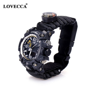 Outdoor Travel Waterproof Multifunction Survival 550 Paracord Bracelet Watch - FOB:US$ - MOQ: