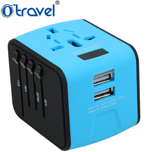 Otravel Dual Usb Adapter Ac 110-250v,Dc Output 5v 2.4a All-in-one Mobile Electrical Accessories Travel Adapter Plug With Lcd - Buy Travel Adapter Plug,Travel Adapter,Electrical Accessories Product on Alibaba.com
