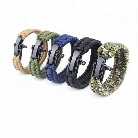 Outdoor Camping Hiking Emergency Survival Braided Pulseras Rescue Umbrella Rope Bracelets - FOB:US$ - MOQ: