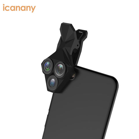 Phone Camera Lens 3 In 1 Kit 180 Degree Fisheyes Lens Clip-on Smart Cell Phone Lenses - FOB:US$ - MOQ: