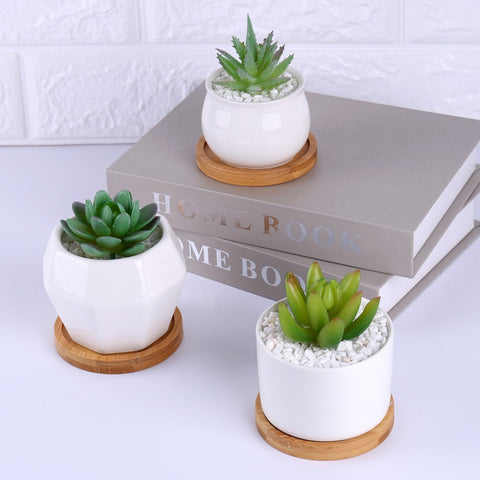 Popular White Ceramic Mini Succulents Flower Plant Pots With Bamboo Saucer - FOB:US$ - MOQ: