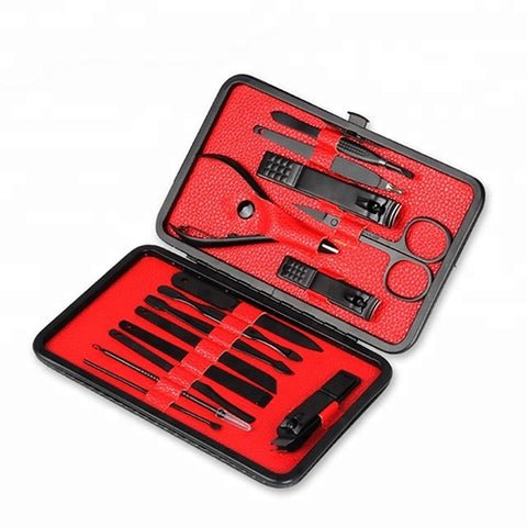 Professional 15pcs Black Pu Case Latest Design Nail Kit Set Manicure Set - FOB:US$ - MOQ: