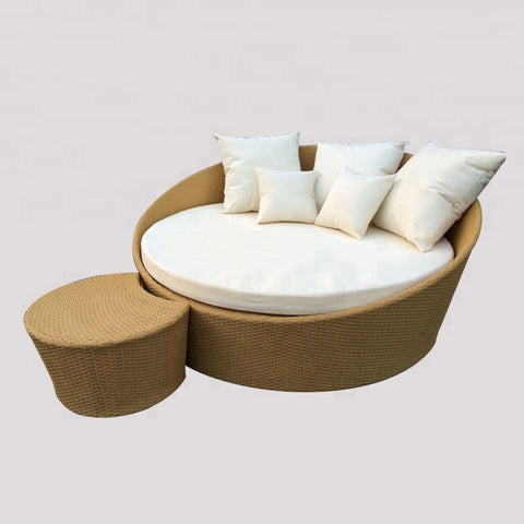 Round Rattan Daybed Outdoor Wicker Sunbed Patio Furniture - FOB:US$ - MOQ: