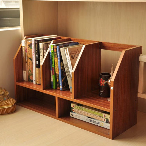 Simple Bamboo Table Small Bookcase Shelving Office Desktop Stretch Cabinet Bookshelf - FOB:US$ - MOQ: