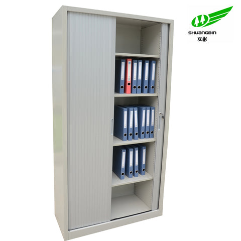 Two Tambour Rolling Shutter Door Office Lockable Metal Storage Cabinet With 4 Shelves - FOB:US$ - MOQ: