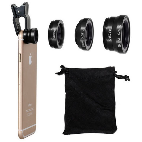 Universal 3in1 Mobile Phone Camera Lens Fish Eye Lenses Wide Angle Macro Mobile Camera Lens - FOB:US$ - MOQ: