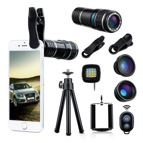 Universal Smart Phone Lenses 4 In 1 Phone Camera Lens Kit 12x Telescope Lens - FOB:US$ - MOQ: