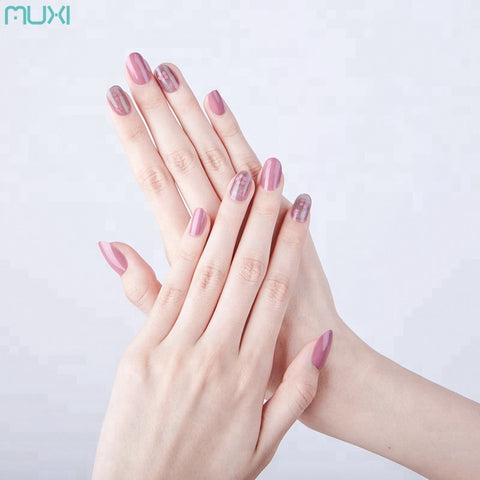 Wholesale False Nail Stickers Pink Printing Acrylic False Nails - FOB:US$ - MOQ: