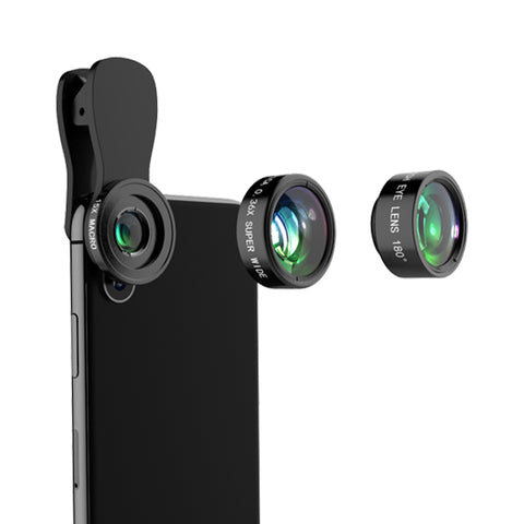 Wholesale Mobile Phone Lenses 3 In1 Fish Eye Wide Angle Camera Lenses With Universal Clip Use - FOB:US$ - MOQ:
