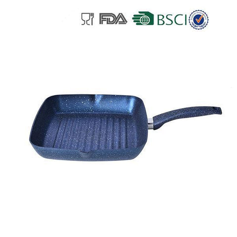 Blue Aluminum Non-stick Marble Coating Grill Pan - FOB:US$ - MOQ: