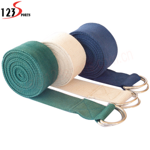 Super Slim Cotton Yoga Strap Belt With Metal D-rings Buckle - FOB:US$3.30 - MOQ:100