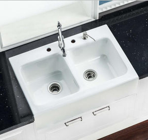 Customized White Single Bowl Bathroom Cast Iron Enameled Kitchen Sink For Sale - FOB:US$ - MOQ: