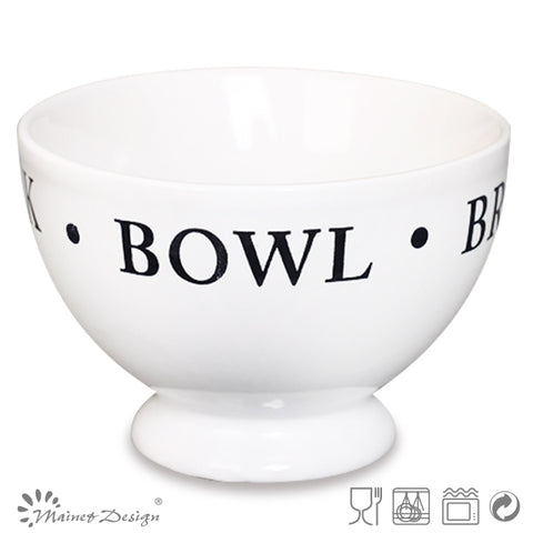 Ceramic Soup Bowl Footed Stoneware Bowl With Big Handle - FOB:US$ - MOQ: