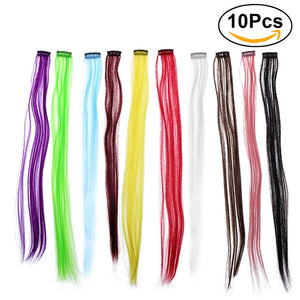 "10pcs Colored Clip in Hair Extensions 22"" Straight Fake Hair Pieces - FOB:US$4.40 - MOQ:300"