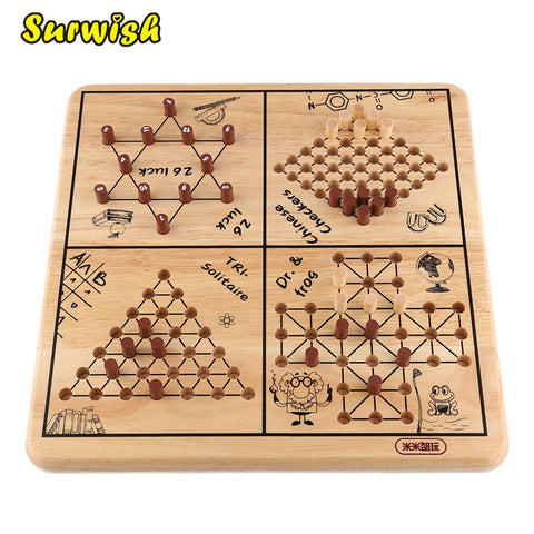 5-in-1 Wooden Family Children Board Game -  FOB:US$44.08 - MOQ:10
