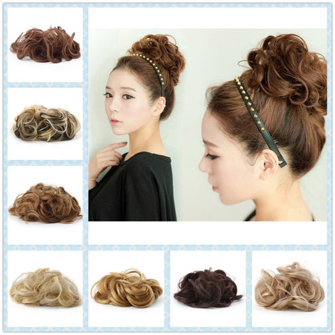 Women's Tiara Satin Curly Messy Bun Hair Twirl Piece Band - FOB:US$1.70 - MOQ:500