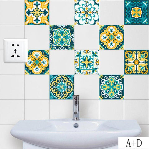Vintage Moroccan Style Tiles Stickers PVC Waterproof - FOB:US$2.34 - MOQ:200