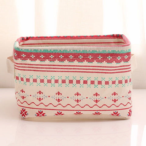 Multifunction Folding Printing Cotton / Linen Desktop Box Cosmetic Storage - FOB:US$5.50 - MOQ:200