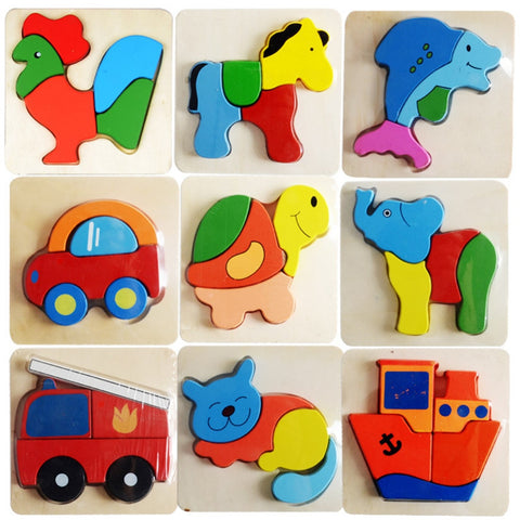 1PC Wooden Puzzle Toys Kid Cartoon Animal 3D - FOB:US$3.61 - MOQ:100