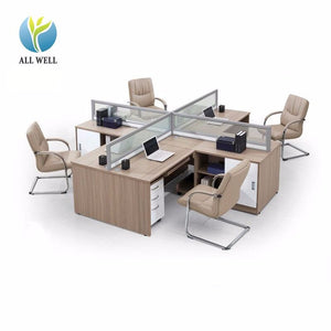 Wholesale Furniture Staff Office Tables And Chairs Set/classic Mdf Wooden 4 Person Office Desk - FOB:US$ - MOQ: