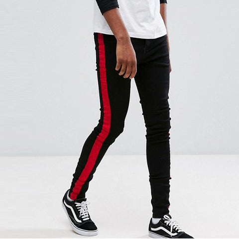 Skinny Black Mens Jeans with Red Stripe - FOB:US$ - MOQ: