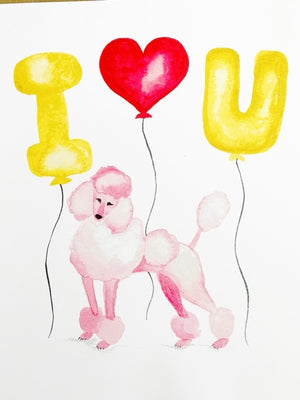Poodle with I Love You Balloons
