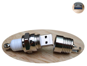 HEREIBUYPC USB Flash Drive 16GB 3.0 Water Resistant Rugged Stealth Metal Spark Plug Keychain