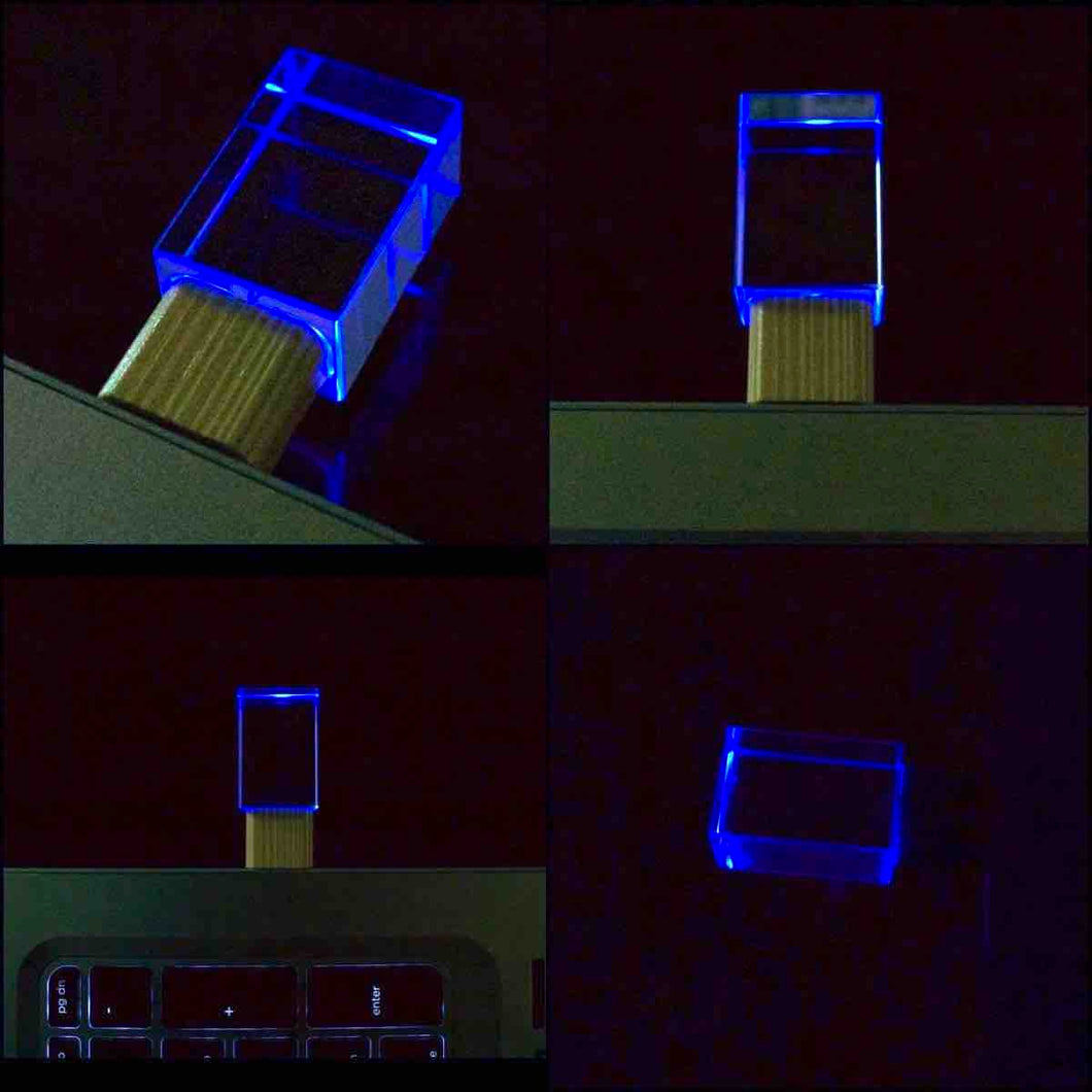 Transparent Crystal and Bamboo LED USB Flash Drive 2.0 16GB, 32GB Blue, Green, Red LED Light-Perfect GIFT for HIM or HER!