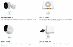 Arlo Pro Smart Home HD Wireless IP Security Camera 3-Pack 4 Rechargeable Battery (New/Other)