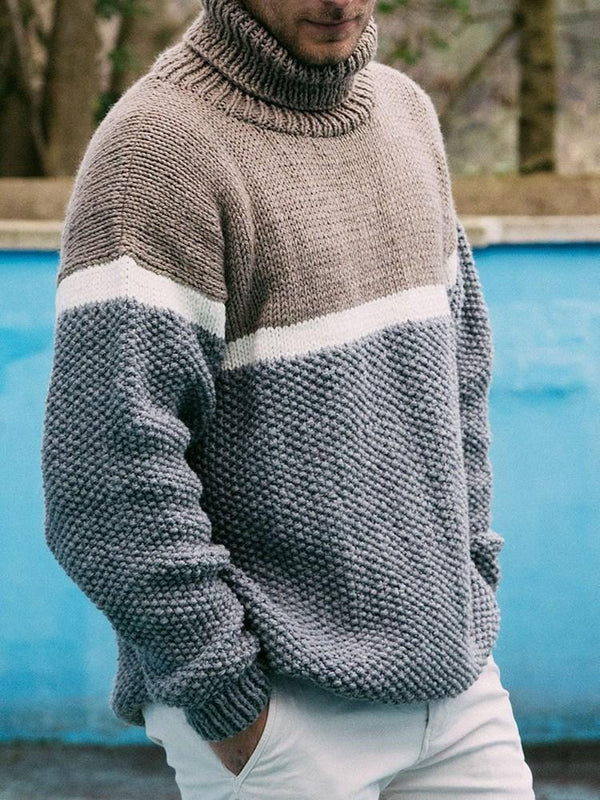 Standard Color Block Turtleneck Loose Casual Sweater