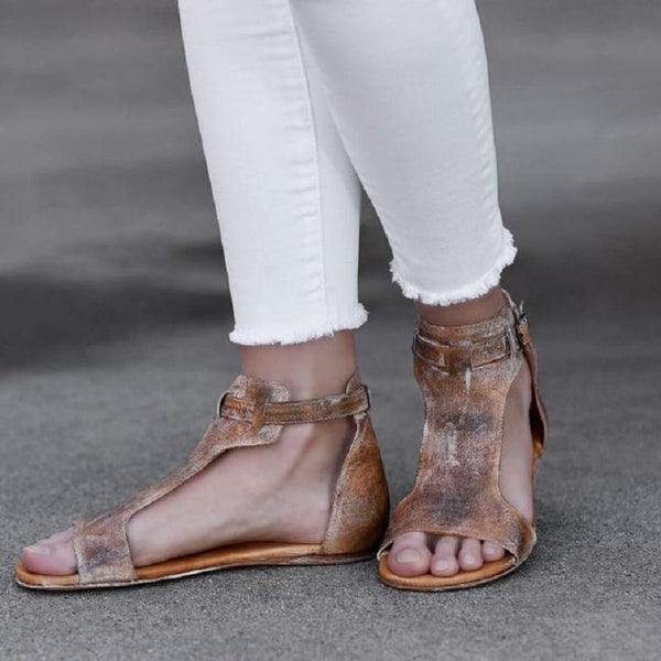 Buckle Open Toe Flat With Casual Vintage Sandals