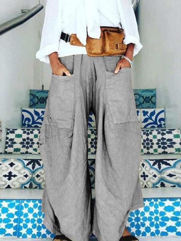 Plain Asymmetric Loose Mid Waist Full Length Casual Pants