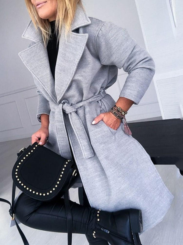 Lace-Up Loose Lace-Up Long Notched Lapel Overcoat