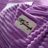 Wavy Shape Princess Style Elegant Purple 4-Piece Fluffy Bedding Sets/ Duvet Covers