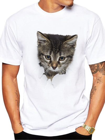 Round Neck Animal Wrapped Slim T-shirt