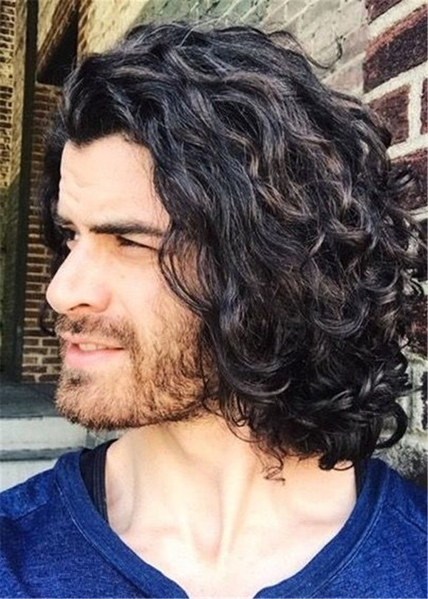 Synthetic Hair Capless Men Curly 14 Inches Perücken