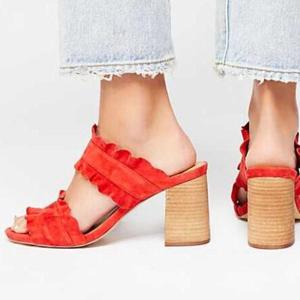 Ruffles Block Heel Slip-On Flip Slops - Pantoufles unies d'été