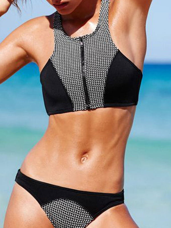 Tankini Set Zipper Color Block Swimwear