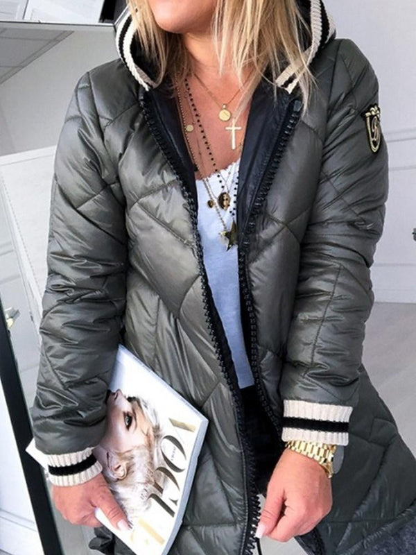 Loose Thick Patchwork Mid-Length Cotton Padded Jacket