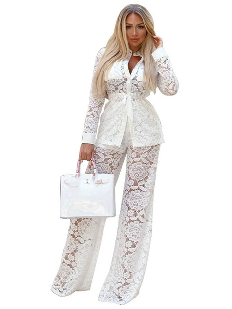 See-Through Floral Casual Wide Legs Stand Collar Two Piece Sets