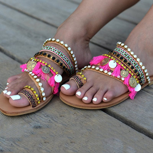 Slip-On Flat With Beads Toe Ring Ethnic Casual Slippers