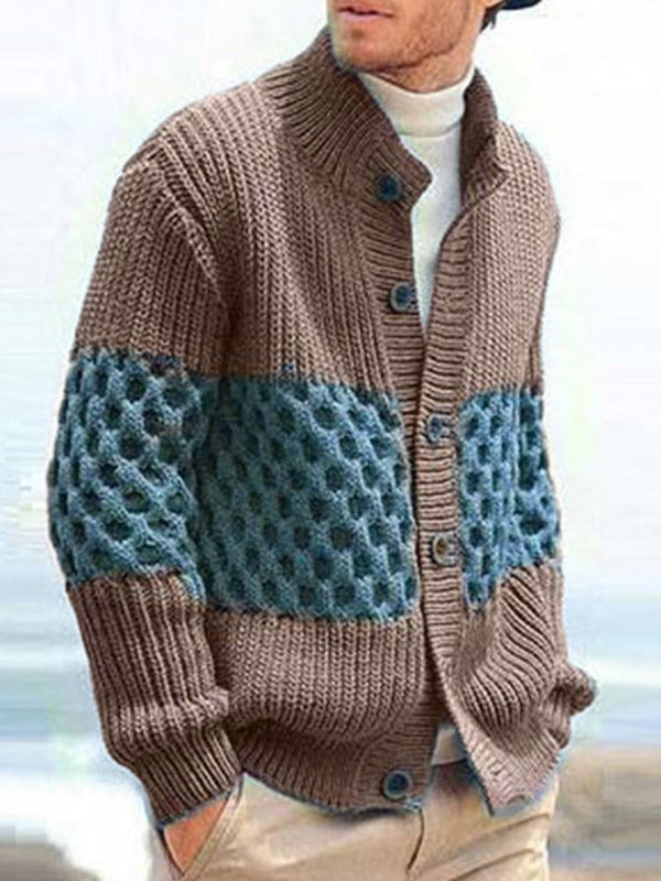 Button Stand Collar Standard Single-Breasted Winter Sweater