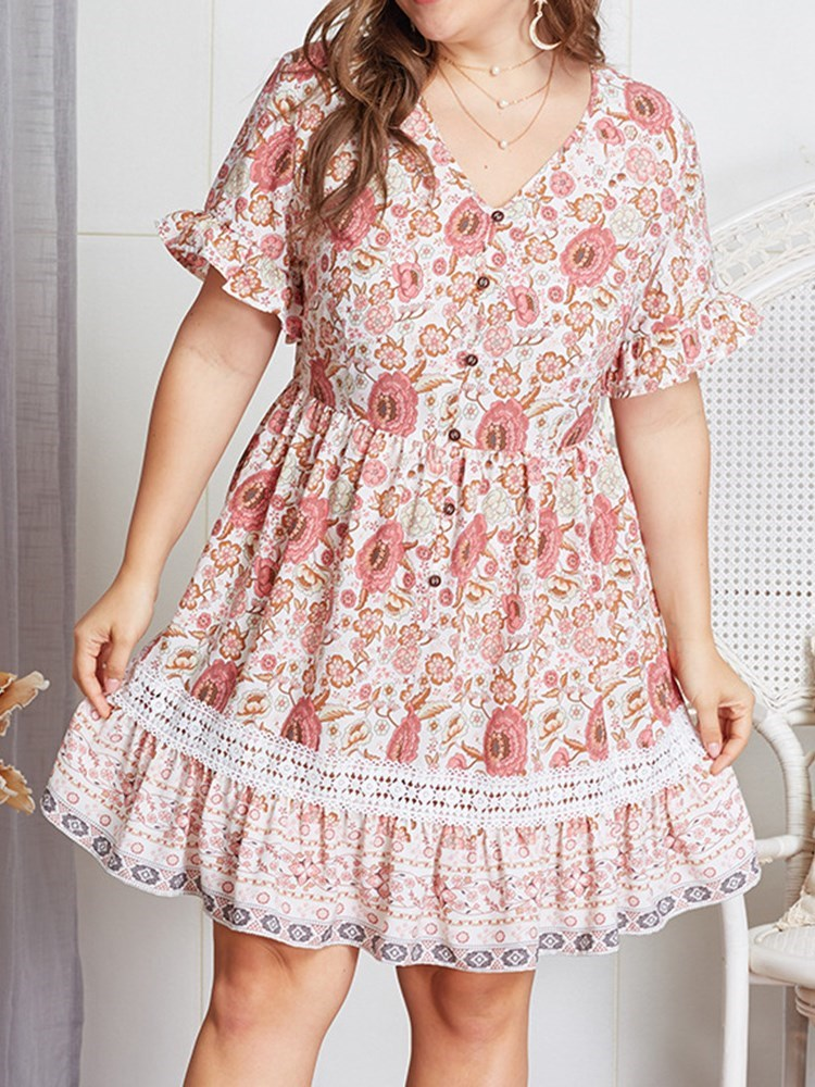 V-Neck Short Sleeve Button Summer Mid Waist Dress
