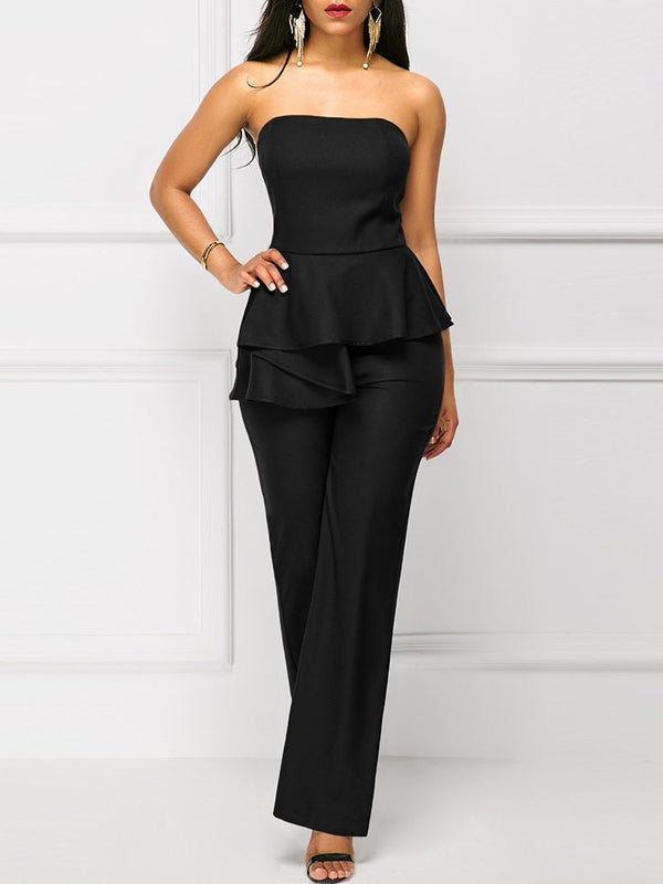 Casual Full Length Plain High-Waist Slim Jumpsuits