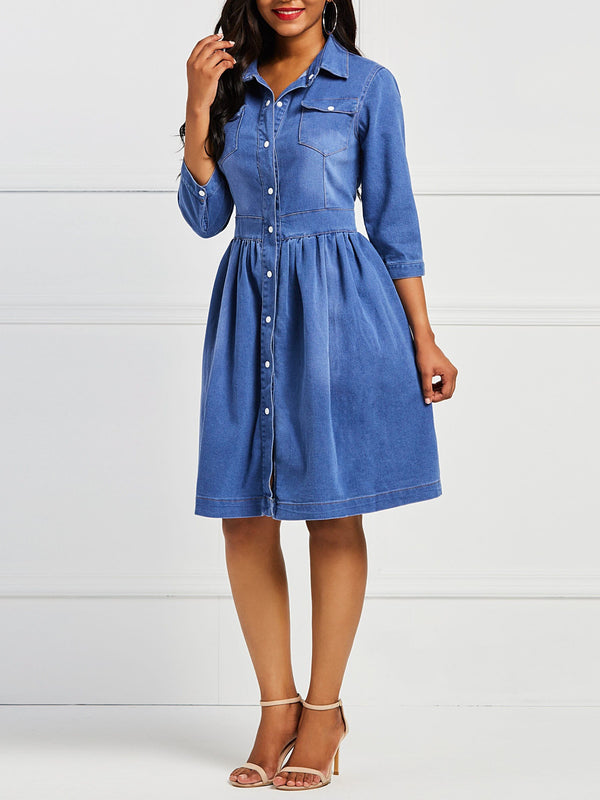 Casual Denim Button Women's Skater Dress