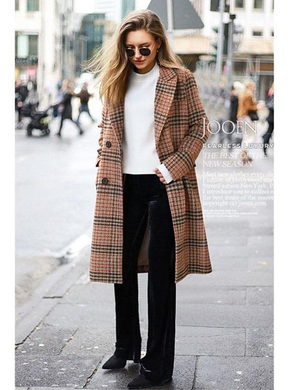 Loose Regular Double-Breasted Notched Lapel Fall Overcoat